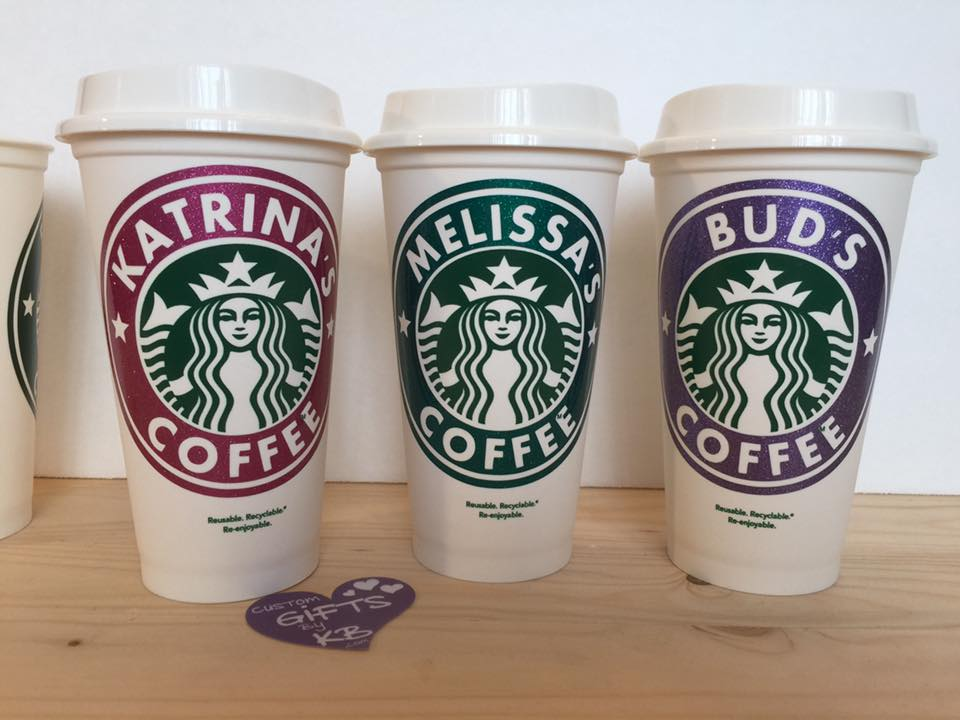 glitter name starbucks travel cup custom gifts by kb llc